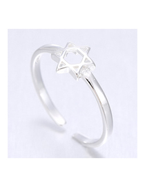 Fashion Silver Prepare A Five-pointed Star Opening Ring
