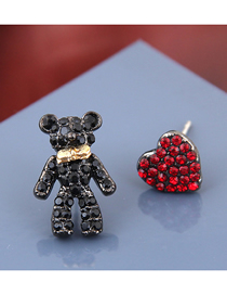 Fashion Black + Red Bear Love Asymmetrical Earrings