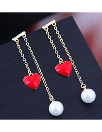 Fashion Gold Red Heart Pearl Earrings