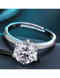 Fashion White K Inlaid Zircon Opening Ring