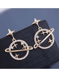 Fashion Gold 925 Silver Needle Copper Micro-inlaid Zircon Saturn Earrings