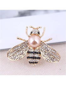 Fashion Gold Metal-studded Bee Brooch