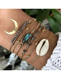 Fashion Gold Cat Eye Gem Moon Multilayer Bracelet Six Piece Set