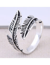 Fashion White K Leaf Open Ring