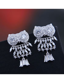 Fashion Silver 925 Silver Needle Copper Micro-inlaid Zircon Owl Stud Earrings