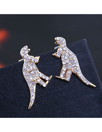 Fashion Gold 925 Silver Needle Copper Inlaid Zircon Hippocampus