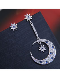 Fashion Silver 925 Silver Needle Copper Micro-inlaid Zircon Star And Moon Asymmetrical Earrings