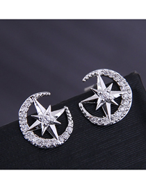 Fashion Silver Copper Micro-inlaid Zirconium Star Earrings