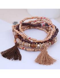 Fashion Gold Mizhu Tassel Multi-layer Bracelet