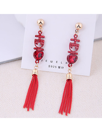 Fashion Red 925 Silver Pin Love Tassel Earrings