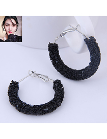Fashion Black Sequin Ear Studs