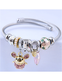 Fashion Pink Metal Flash Drill Elf Rat Bracelet
