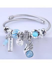 Fashion Blue Metal Shining Angel Wing Bracelet