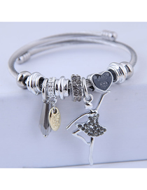 Fashion Gray Metal Flash Drill Ballet Bracelet