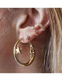 Fashion Gold Metal Crescent Moon Single Earring Set