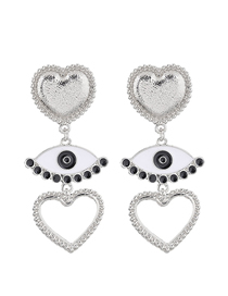 Fashion Silver Metal Eye Love Earrings