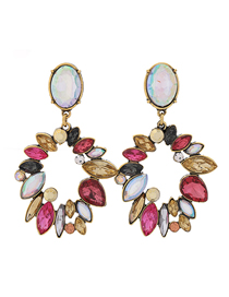 Fashion Color Metal Flower Earrings