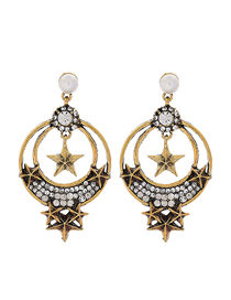 Fashion Gold Metal Flash Diamond Earring
