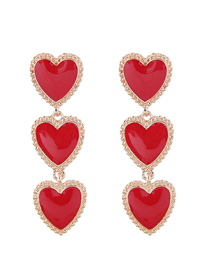 Fashion Red Metal Heart Earrings