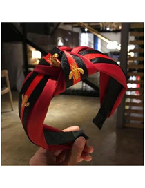 Fashion Red Small Bee Pattern Fabric Knotted Wide-brimmed Headband