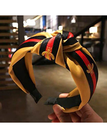 Fashion Yellow Small Bee Pattern Fabric Knotted Wide-brimmed Headband