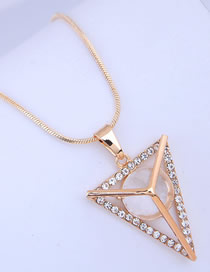 Fashion Golden Openwork Necklace With Triangle Diamonds