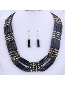 Fashion Black Metal Crystal Bead Contrast Necklace Earring Set