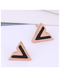 Fashion Rose Gold Titanium Steel Stud Earrings