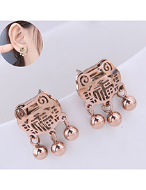 Fashion Rose Gold Long Life Lock Blessing Round Beads Stud Earrings