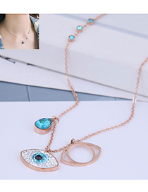 Fashion Rose Gold Openwork Geometric Necklace With Diamonds