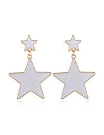 Fashion White Pentagram Acrylic Stud Earrings