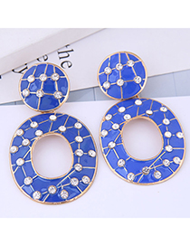 Fashion Alloy + Drill + Drip Oil Geometric Oval Stud Earrings With Diamonds