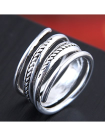 Fashion Silver Embossed Geometric Split Ring