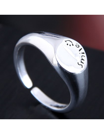 Fashion Silver Letter Embossed Open Ring