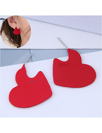 Fashion Red Love Notched Alphabet Ear Studs