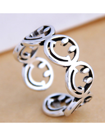 Fashion Silver Alloy Hollow Smile Face Open Ring