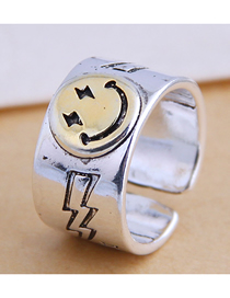 Fashion Silver Lightning Smiley Wide Slit Ring
