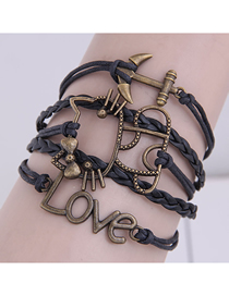 Fashion Black Hand Woven Anchor Cat Alphabet Alloy Multilayer Bracelet