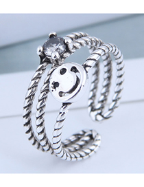 Fashion Silver Cutout Smiley Face Open Ring With Diamonds