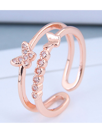 Fashion Rose Gold Cubic Zircon Butterfly Cutout Open Ring