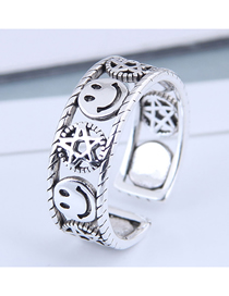 Fashion Silver Pentagram Openwork Smiley Open Ring