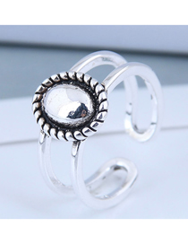 Fashion Silver Oval Cutout Ring