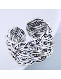 Fashion Silver Braided Open Wide Ring