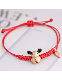 Fashion Red Cute Rat Making A Red Rope Natal Year Cute Rat Bracelet