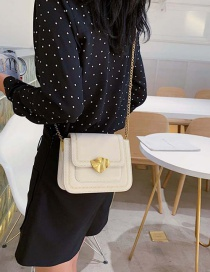 Fashion White Splicing Contrast Chain Single Shoulder Messenger Bag