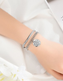 Fashion Silver Embossed Round Double-layer Bracelet