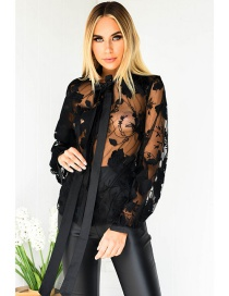 Fashion Black Stitching Lace Hook Flower Embroidery Mesh Tie Cardigan
