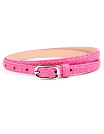 Fashion Rose Red Printed Japanese Word Buckle Imitation Leather Belt