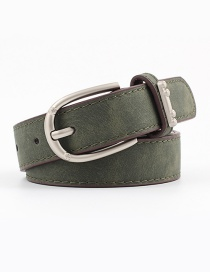 Fashion Army Green Alloy Accessories Ring Faux Leather Pin Buckle Flat Belt