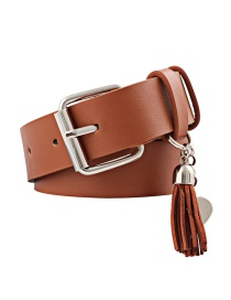 Fashion Camel Pu Leather Pin Buckle Wide Belt